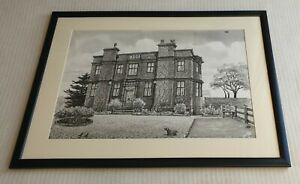 Albin-Trowski-1919-2012-large-original-signed-ink-wash-painting-Mansion-house