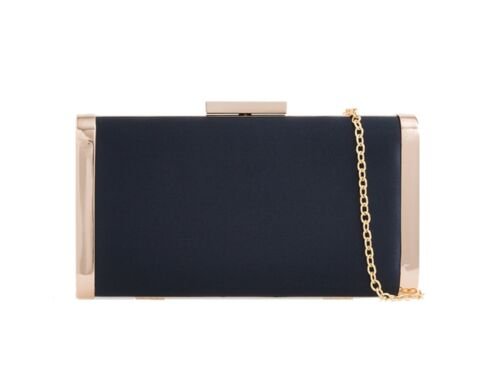 New Women's Classy Satin Style Gold Tone Shoulder Chain Clutch Bag