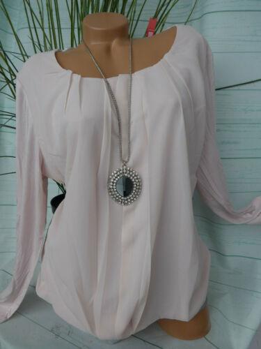 961 Sheego Damen Bluse Shirt Gr 44 bis 52 rosa Lagen Look weich fallend