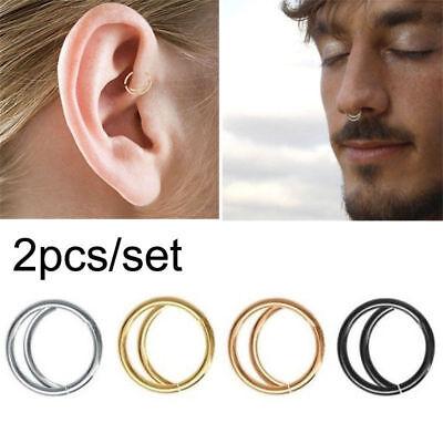 2x Stainless Steel Moon Nose Ring Set Nostril Hoop Snug Septum