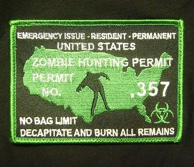 ZOMBIE HUNTING PERMIT .357 OUTBREAK HUNTER LIME GREEN VELCRO® BRAND FASTEN PATCH