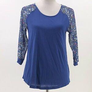 Modcloth-fervour-raglan-top-floral-print-sleeves-keyhole-back-sz-M-J59