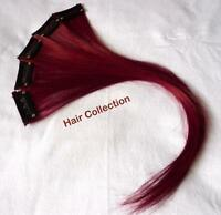 Burgundy-12 Human Hair Clip In Extensions For Highlights (5pcs)