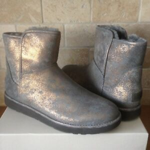 f81aac213bf Details about UGG ABREE MINI STARDUST GUNMETAL METALLIC SUEDE FUR ANKLE  BOOTS SIZE 8 WOMENS