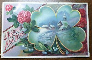 Vintage-New-Year-Greetings-Postcard-Mistletoe-4-Leaf-Clover-Mistletoe
