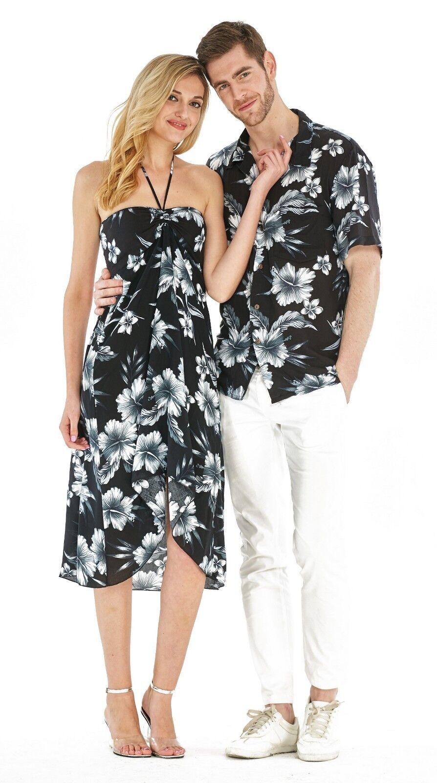 Hawaii Hangover Couple Matching Hawaiian Luau Cruise Midnight Bloom Floral Black