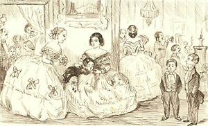 1866 Pen and Ink Drawing - Asleep at the Ball