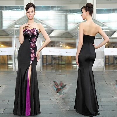 Womens Black Strapless Sequins Slitted Trailing Long Evening Formal Dress 9928B