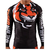 Tiger Mma Shirts Rash Guard Fighter Ufc Boxing Training Tight Jiu Jitsu Black M7