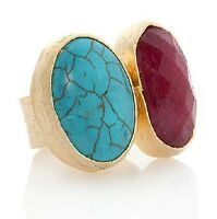 Universal Vault Red And Turquoise Color Two Stone Gold Tone Ring In A Size 5