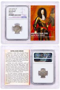 1640-1705-Austria-Silver-3-Kreuzer-Leopold-I-034-The-Hogmouth-034-NGC-UNC-SKU51864