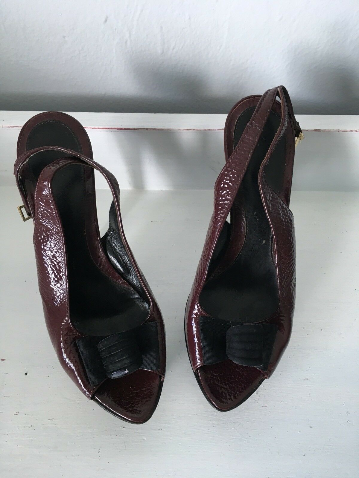 Fendi High Heels Stiletto Slingbacks Pumps Bow Patent Leather  sz 40