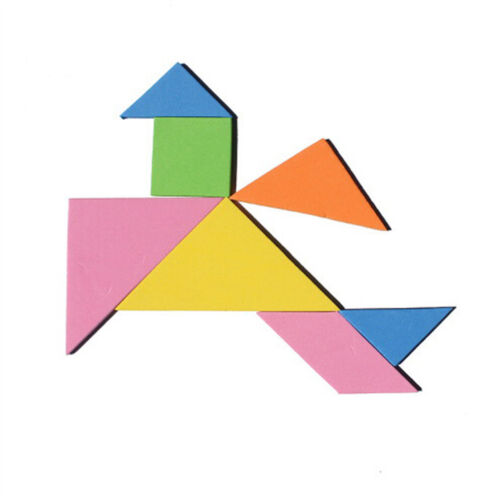 7 Piece Rainbow Color EVA Tangram DIY Foam Brain Puzzle Kids Educational ToysWD