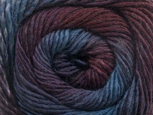 Grape Crush Primadonna 55518 Purples Blue Fine Self-Striping Wool Acry Yarn 100g