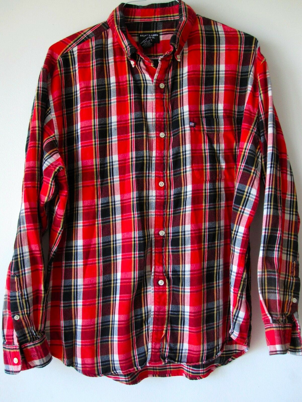 fdeacb59b Ralph Lauren Shirt Large Red Plaid Button Down Shirt Long Sleeves L Mens