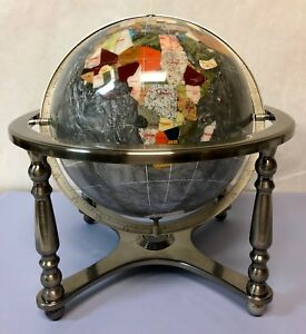 Details about mother of pearl silver ocean 4 legged table stand gemstone world mapglobe 14 image is loading mother of pearl silver ocean 4 legged table gumiabroncs Image collections