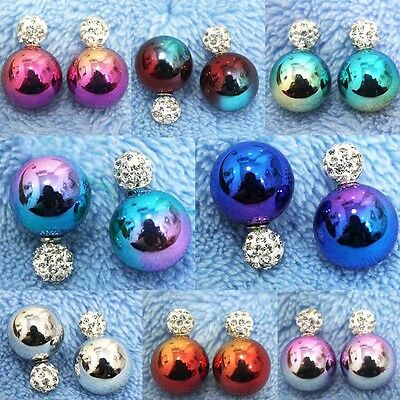1Pairs Celebrity Fashion Runway Double Sided Crystal Pearl Beads Earrings Studs