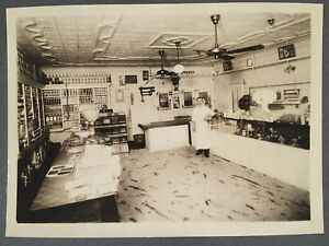 c.1910s-20s Interior of General Store Food Market Butcher Mounted Photograph