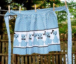 VTG 60's Blue & White Mr. & Mrs. Calico Cat Cotton Hostess Half Apron Cat Lovers