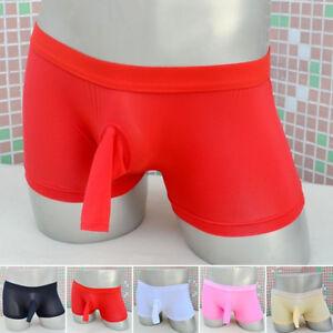 Sexy-Men-039-s-G-string-Thong-Pouch-Boxer-Briefs-Open-Penis-Sheath-Shorts-Underwear