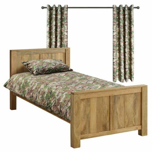 Lit Simple Enfants Armée BTP Camouflage Couette Et Rideaux Chambre À Coucher Ensemble Polyester