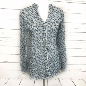 Maurice-s-Small-Women-s-Top-Floral-Blue-Button-Down-Blouse-Sheer