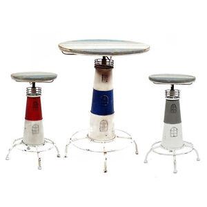 New Nautical Themed Bar Table Barstool Set Cape Cod Lighthouse Chair Stool Ebay