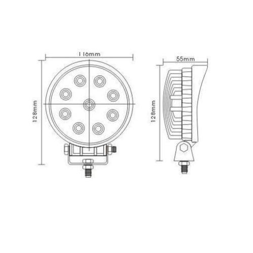 Auto LED Scheinwerfer 12V 27W CAR für Schneefräse Rasentraktor IP67 Strahler