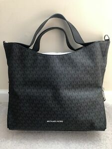 8532466e5c5b NEW MICHAEL KORS DEVON LARGE SIGNATURE SHOULDER TOTE  398 BLACK NWT ...