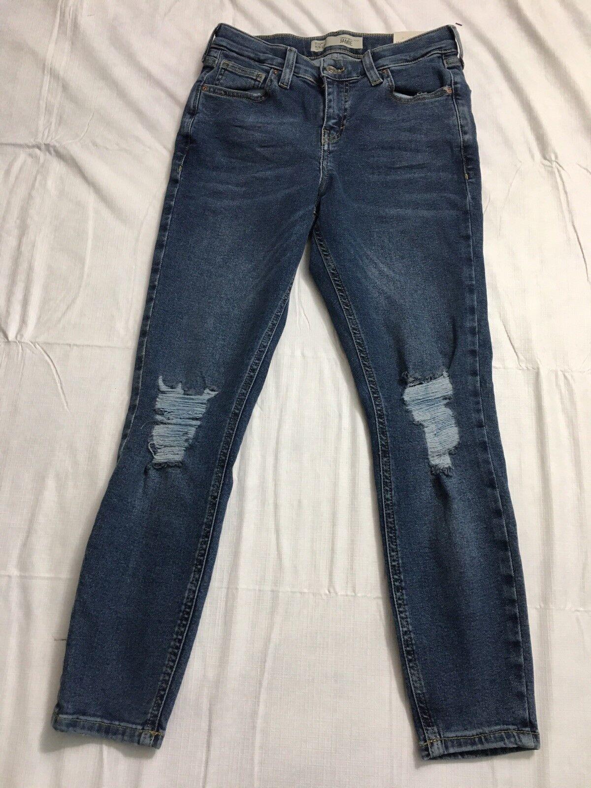 Topshop Petite Jamie High Waist Ankle Grazer Jeans 24x24 Skinny Leg Distressed