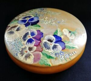 Vintage Round Wooden Trinket Box Hand Painted With Pansies   FREE Delivery UK*