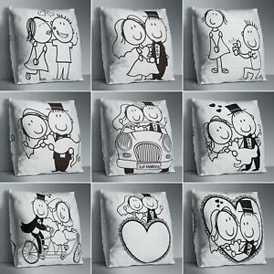Am-Black-White-Couple-Print-Pillow-Case-Cushion-Cover-Sofa-Bed-Decor-Gift-Eyefu