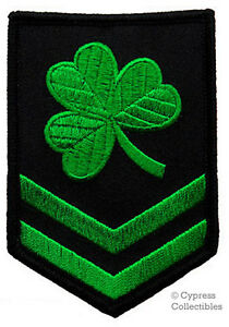 IRISH-CLOVER-MILITARY-PATCH-embroidered-LUCKY-SHAMROCK-iron-on-CHEVRON-GREEN-new