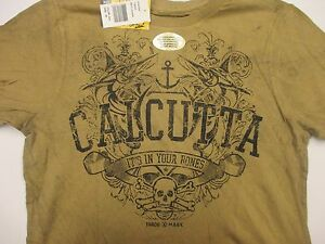 NEW Authentic 2XL Calcutta T-Shirt with Crest Print, Brown