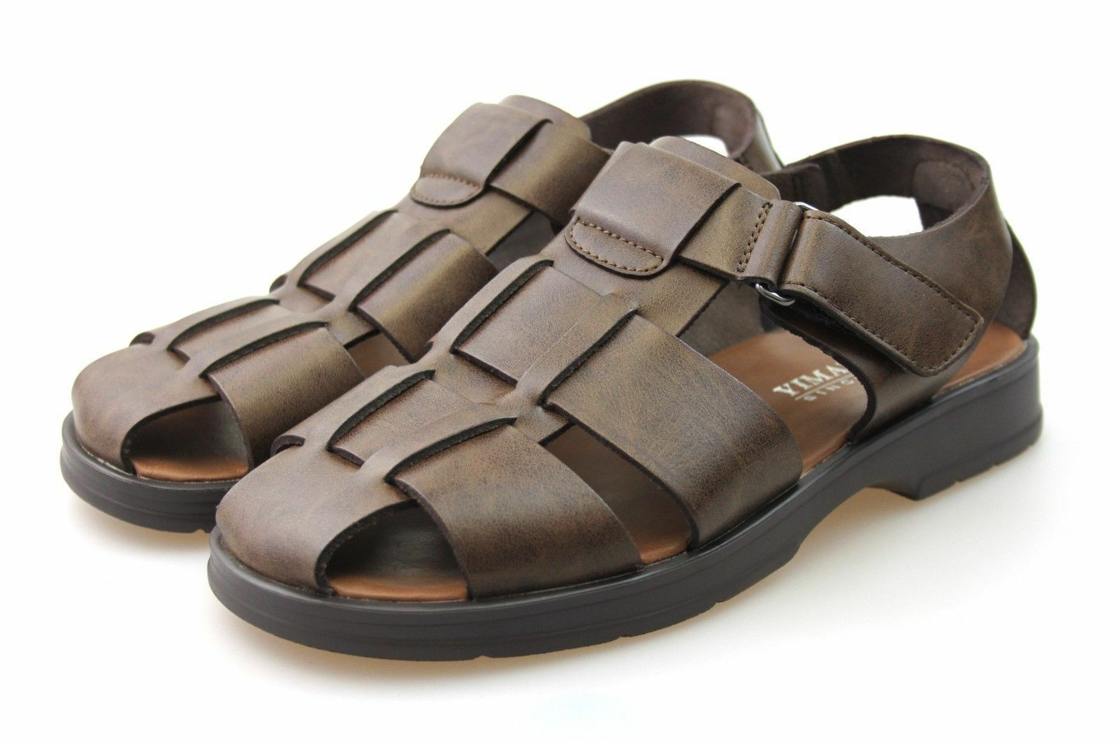 Mens Brown Leather Sandals Shoe Walking Summer Beach Shoe Sandals Size 5a659b