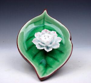 Japones-Porcelana-Unico-Hoja-Formado-Plano-Placa-Hoja-Pintado-amp-Lotus-02101706