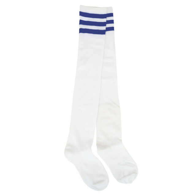 Womens Stripe Over Knee High Socks Sport Referee Fancy Dress Tube Sock