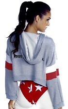 NWT Wildfox gray Body Mind Soul Oversized Cropped Hoodie Sweatshirt stripes XS