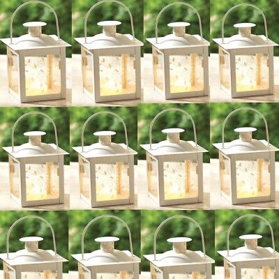 Wedding Bridal Shower Vintage Style Rustic Distressed Candle Holder Table Decor MW36904 Small White Lantern Centerpiece