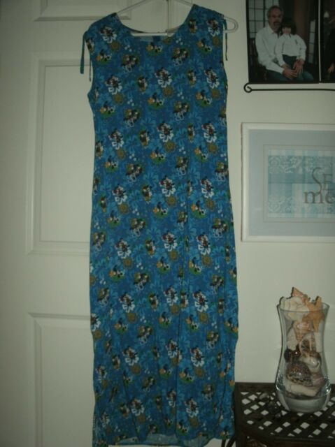Authentic Disney Womens Maxi Sundress Dress Hawaiian Mickey Minnie sz M