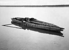 ANTIQUE REPRODUCTION HUGE PUNT GUN IN DUCK HUNTING BOAT 8X10 PHOTOGRAPH