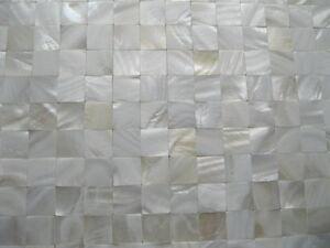 Details zu Perlmutt Mosaik weiß (kein Glas) OHNE Fugen, 20x20 mm ,Matte  300x300 mm