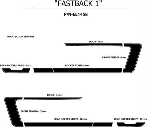 FASTBACK 1 Side C Stripes Graphics Decals 3M 2007-2009 3M Vinyl for Ford Mustang