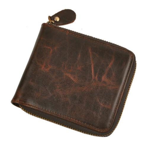 Mens Genuine Leather Bifold Card Holder Coin Case Wallet Purse Zipper Money Clip