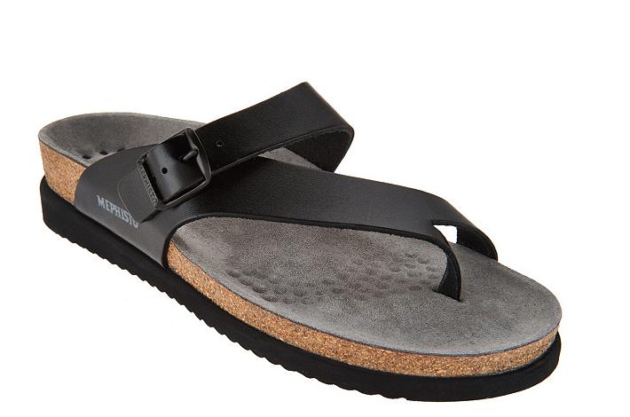 MEPHISTO Leather Toe Loop Sandals - Helen Women's Black Size 5