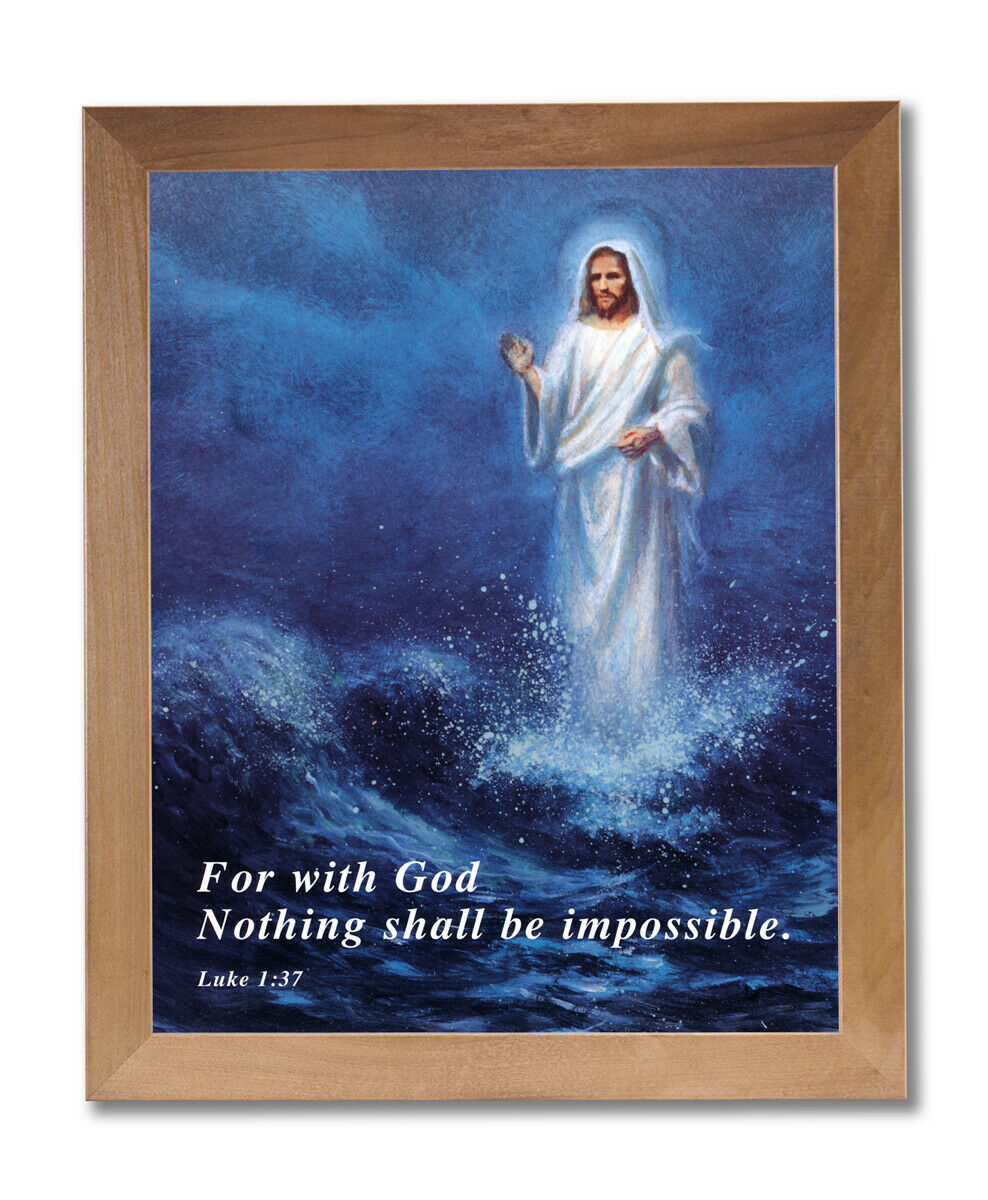 Jesus Christ Walking On Water Religious Wall Picture Honey Framed Art Print