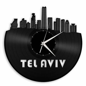 Tel Aviv City Skyline Vinyl Wall Art Clock Cityscape Ideal for Indoor Room Decor