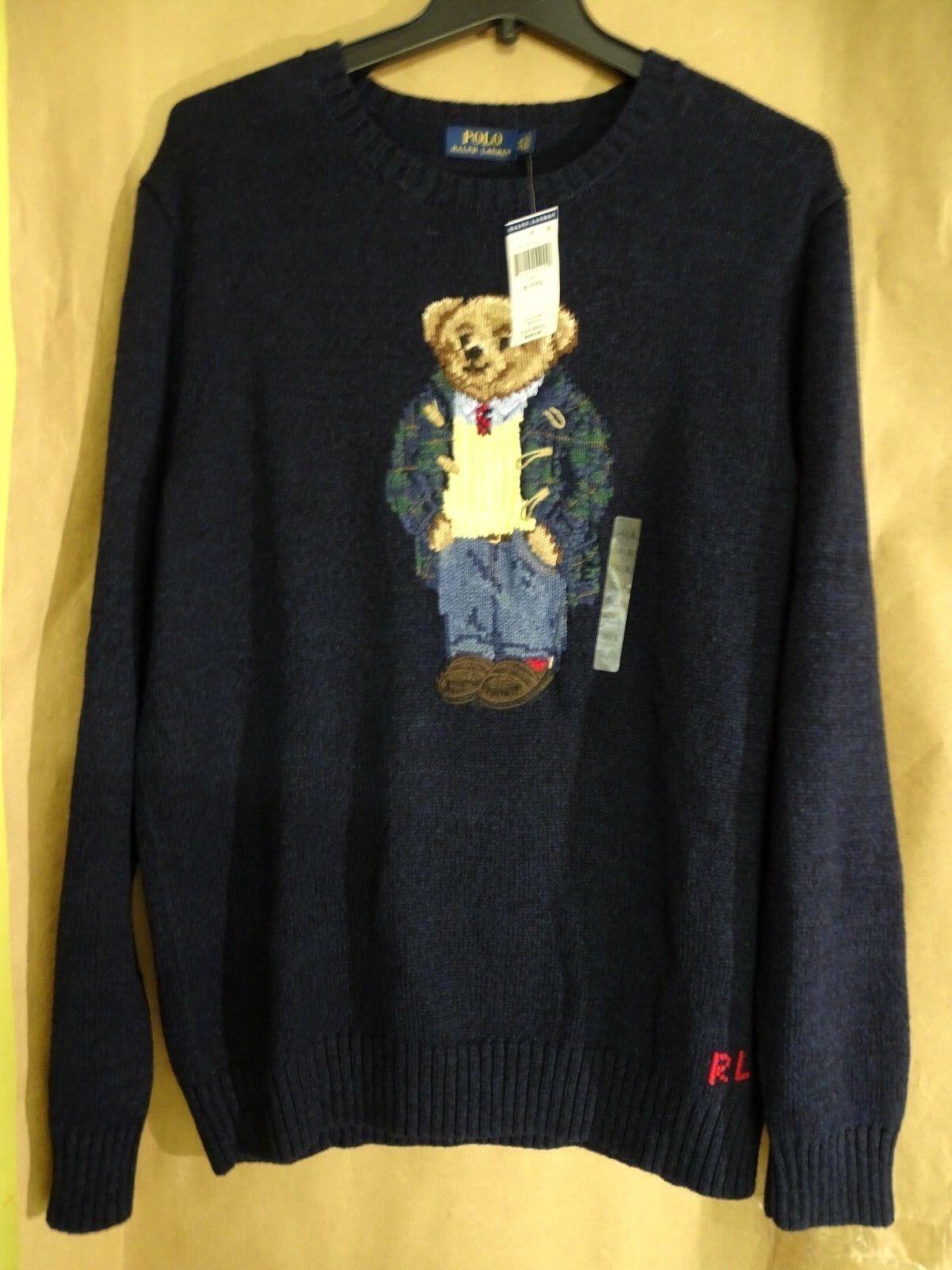 NEW Polo Ralph Lauren Big & Tall Intarsia-Knit Preppy Bear Toggle Mantel Sweater