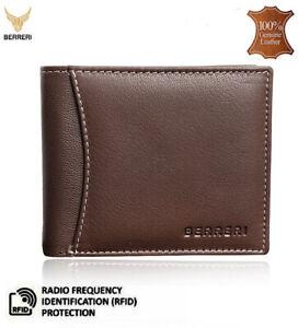 Mens Brown 100% Genuine Leather Wallet RFID Safe Card Holder Gift Box UK Stock