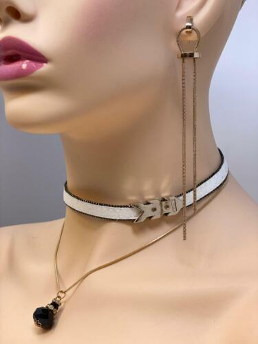 2PCs Earring /& Leather Choker with Crystal Pendant /& Long String Earring